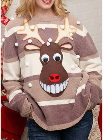 Polyester Color Block Deer Ugly Christmas Sweater