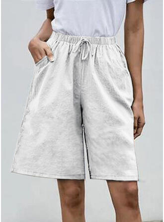 Pockets Shirred Plus Size Knee-length Boho Casual Solid Shorts