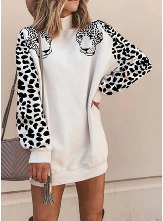 Animal Print/Leopard Long Sleeves Shift Above Knee Casual Sweatshirt Dresses