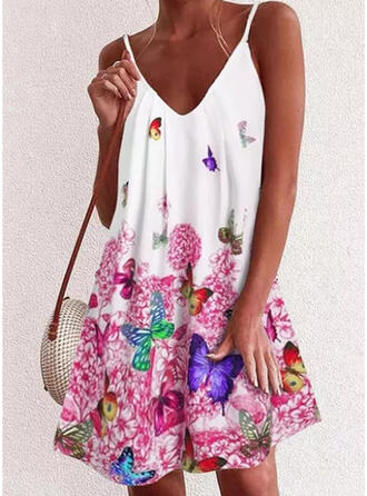 Floral/Animal Print Sleeveless Shift Knee Length Casual/Vacation Dresses