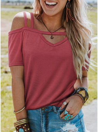 Solid Cold Shoulder Short Sleeves Casual Sexy Blouses