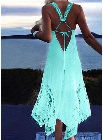 Solid Strap Plus Size Boho Vacation Cover-ups Swimsuits