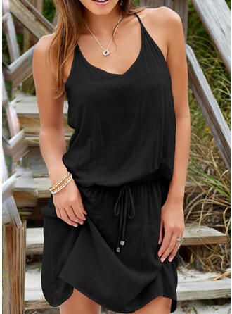 Solid Color Ruffles Lace Up V-Neck Sexy Vintage Cover-ups Swimsuits