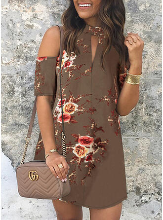 Print/Floral Short Sleeves/Cold Shoulder Sleeve Sheath Above Knee Casual/Elegant Dresses