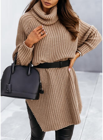 Solid Knit Long Sleeves Raglan Sleeve Shift Above Knee Casual Sweater Dresses
