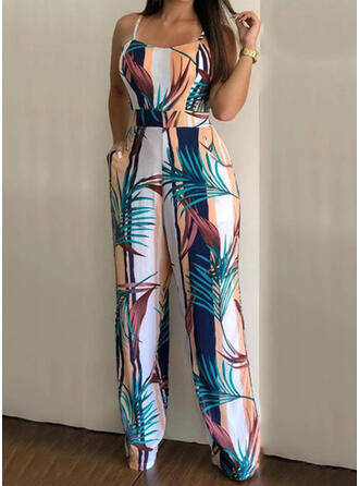 Print Spaghetti Strap Sleeveless Casual Vacation Jumpsuit