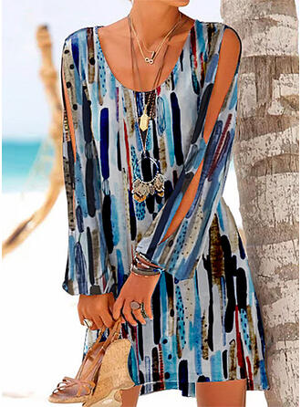 Print Long Sleeves/Cold Shoulder Sleeve Shift Above Knee Casual/Vacation Dresses