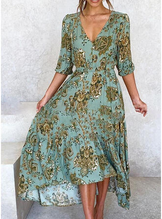 Print 1/2 Sleeves A-line Asymmetrical Casual/Vacation Dresses