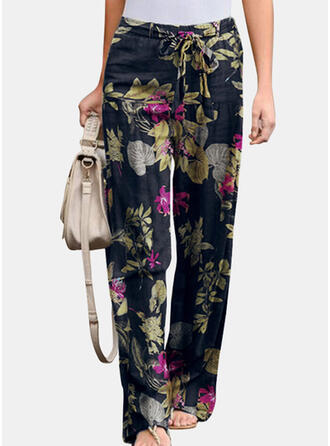 Floral Print Plus Size Drawstring Boho Casual Pants