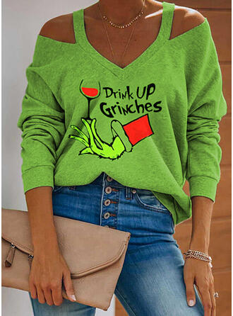 Christmas Print Letter Cold Shoulder Long Sleeves Casual Blouses