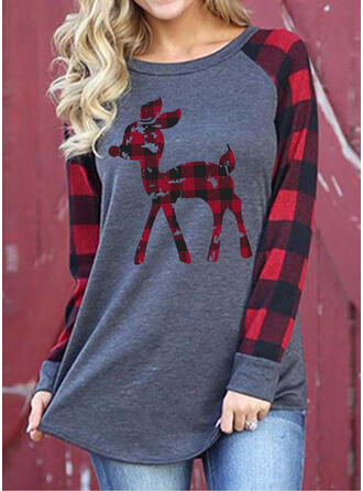 Animal Print Round Neck Long Sleeves Casual Christmas Blouses