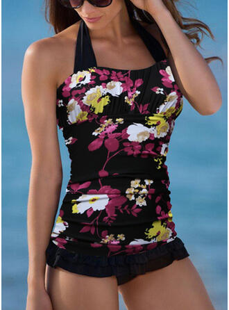 Floral Stripe Lace Up Strapless High Neck Elegant Sports Cute One-piece Swimsuits