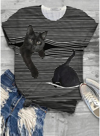 Animal Print Striped Round Neck Short Sleeves Casual T-shirts