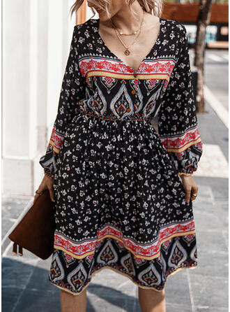 Print/Floral Long Sleeves A-line Knee Length Casual/Boho/Vacation Dresses