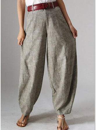 Patchwork Shirred Plus Size Long Casual Tribal Pants