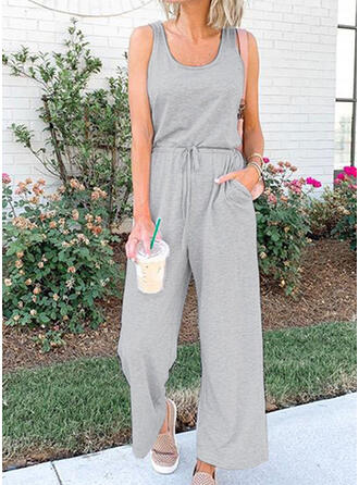 Solid Round Neck Sleeveless Casual Jumpsuit