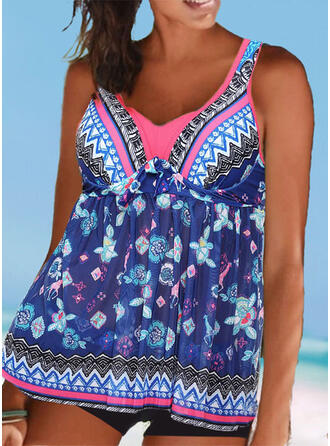 Print Splice color Push Up Strap V-Neck Vintage Fresh Tankinis Swimsuits