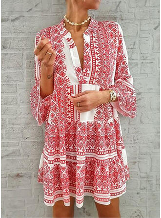 Print Long Sleeves/Flare Sleeves Shift Above Knee Casual/Elegant Dresses