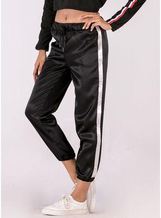Patchwork Drawstring Casual Sporty Pants