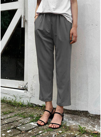 Pockets Shirred Plus Size Cropped Casual Elegant Pants