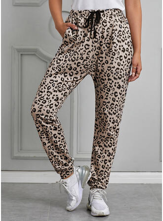 Shirred Leopard Cropped Casual Print Yoga Tribal Pants