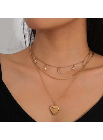 Beautiful Fashionable Sexy Alloy With Rhinestone Star Moon Heart Women's Ladies' Necklaces 3 PCS