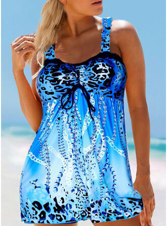 Print Splice color Strap Vintage Fresh Tankinis Swimsuits