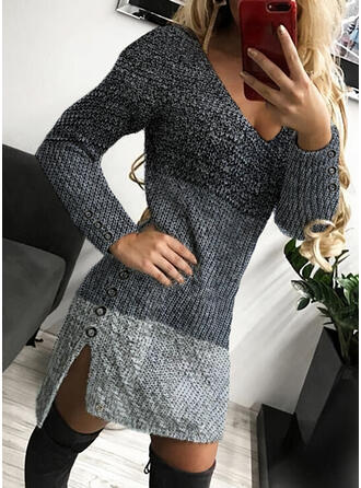 Color Block Cable-knit V-Neck Casual Long Tight Sweater Dress