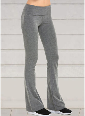 Solid Casual Sporty Yoga Pants