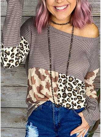 Color Block Animal Print One Shoulder Sweaters