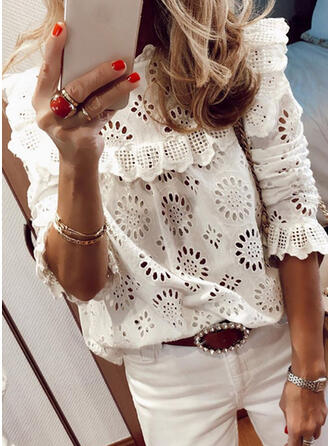 Solid Round Neck Puff Sleeves 3/4 Sleeves Casual Elegant Blouses