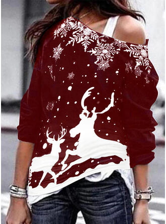Animal Print One Shoulder Long Sleeves Christmas Sweatshirt