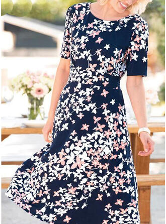 Print/Floral Short Sleeves A-line Casual/Vacation Midi Dresses