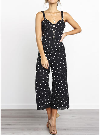 Polka Dot Strap Sleeveless Casual Vacation Sexy Jumpsuit