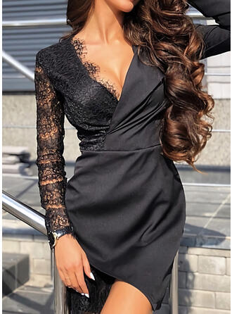 Lace/Solid Long Sleeves Sheath Above Knee Little Black/Casual/Elegant Dresses
