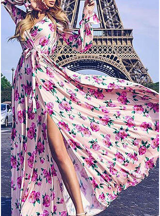 Print/Floral Long Sleeves A-line Wrap/Skater Casual/Vacation Maxi Dresses