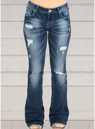 Shirred Plus Size Ripped Casual Vintga Denim & Jeans