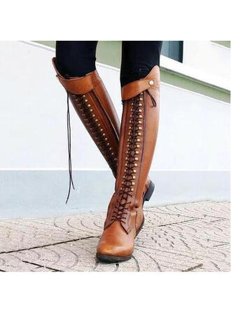 Women's Leatherette Chunky Heel Boots Over The Knee Boots With Rivet Zipper shoes
