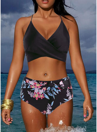 Tropical Print V-Neck Strapless Sexy Casual Bikinis Swimsuits