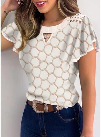 Print Round Neck Flare Sleeve Short Sleeves Button Up Casual Ruffle Blouses