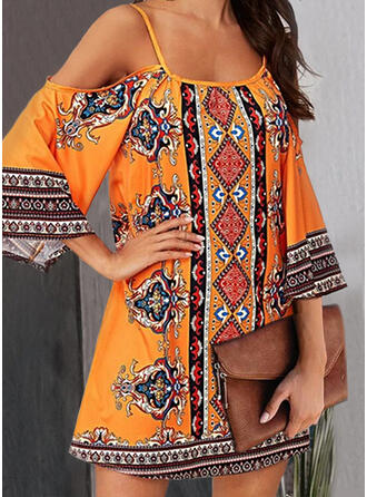 Print 3/4 Sleeves/Cold Shoulder Sleeve Shift Above Knee Casual/Boho/Vacation Tunic Dresses