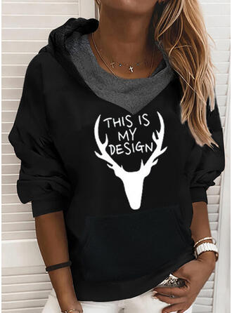 Animal Print High Neck Long Sleeves Christmas Sweatshirt