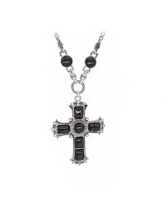 Unique Exquisite Stylish Cross Link & Chain Natural Stone Alloy Resin With Resin Women's Ladies' Men's Couples' Unisex Necklaces 1 PC