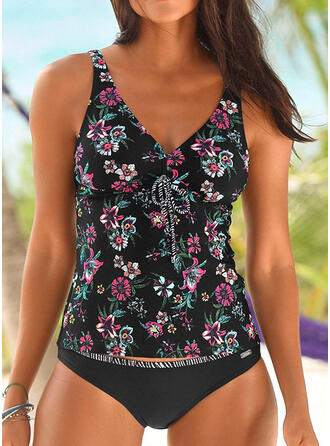 Tropical Print Bowknot Strap V-Neck Bohemian Casual Tankinis Swimsuits