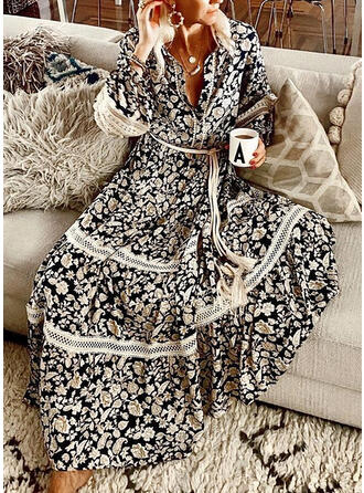 Lace/Print/Floral Long Sleeves A-line Skater Vacation Maxi Dresses